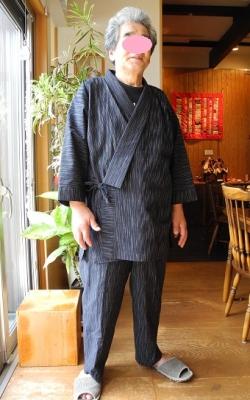 20160915立川織物亀田縞特注作務衣