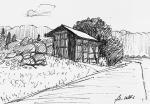 岩櫃山麓の民家