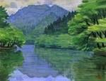 梅雨の鎌北湖