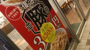 吉野家、豚丼、Aセット(サラダ、味噌汁)1