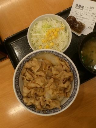 吉野家、豚丼、Aセット(サラダ、味噌汁)2