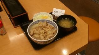吉野家、豚丼、Aセット(サラダ、味噌汁)4