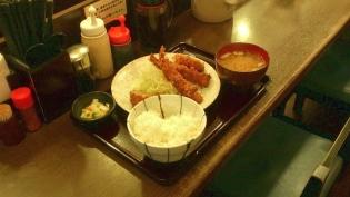 かつ仙、上野、エビフライとひれかつとカニクリームコロッケ定食4