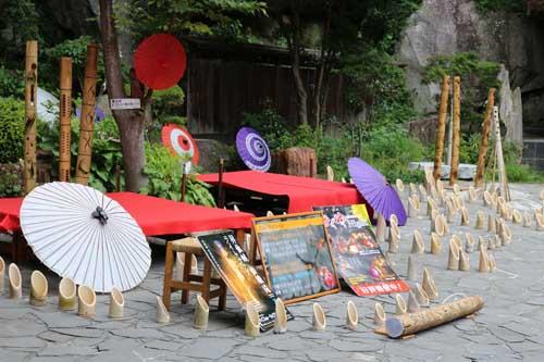 昇仙峡 仙娥滝 ライトアップと竹灯籠のあかり