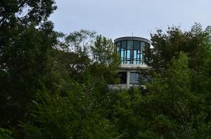 木々の間から見えてくる展望台