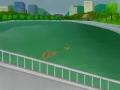 犬と鴨が池の中