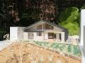 ポタジェのある大屋根の家計画模型