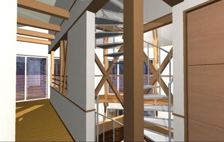 2階廊下から階段 1