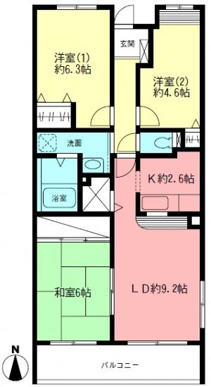 ■物件番号4501 憧れの東海岸南2丁目!希少3LDKマンション!9.6万円!日当り良好!キイハイツ東海岸!