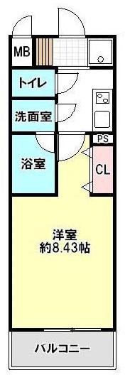 ■物件番号4581 駅も海も歩けるオートロック付1Kマンション入荷!最上階4階!広々8.4帖!7万円!