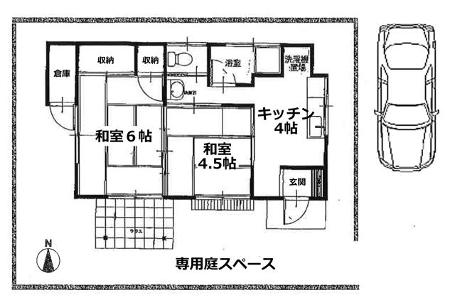 ■物件番号4629 茅ヶ崎海側!昭和レトロ平屋!専用庭!2K+倉庫付!駐車場無料!6.5万円!
