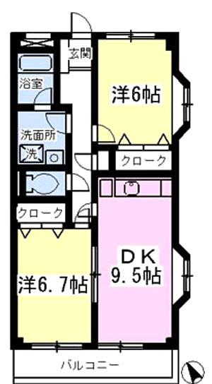 ■物件番号4634 憧れの東海岸南!駅も海も徒歩11分!2DKマンション!3階カド!南向き日当り良好!8.4万円