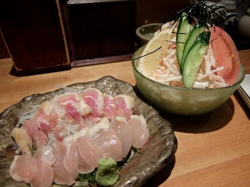鶏たたきと大根明太子サラダ