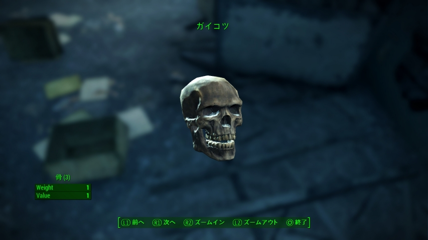 [PS4]フォールアウト4 「ガイコツ」と「頭蓋骨」の違い