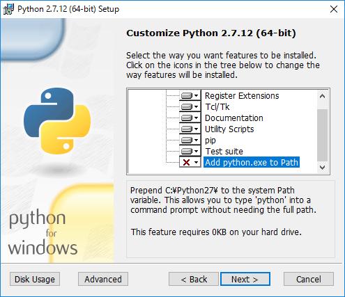 Python2での設定