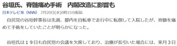 news谷垣氏、脊髄痛め手術 内閣改造に影響も