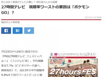 news27時間テレビ 視聴率ワーストの要因は「ポケモンGO」?