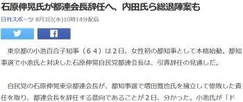 news石原伸晃氏が都連会長辞任へ、内田氏ら総退陣案も