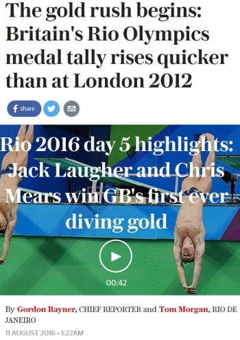 newsThe gold rush begins Britains Rio Olympics medal tally rises quicker than at London 2012