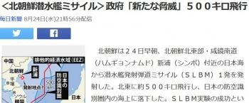 news<北朝鮮潜水艦ミサイル>政府「新たな脅威」500キロ飛行