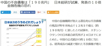 news中国の不良債権は「190兆円」 日本総研が試算、発表の10倍  金融危機の恐れ