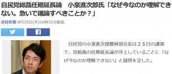 news自民党総裁任期延長論 小泉進次郎氏「なぜ今なのか理解できない。急いで議論すべきことか?」