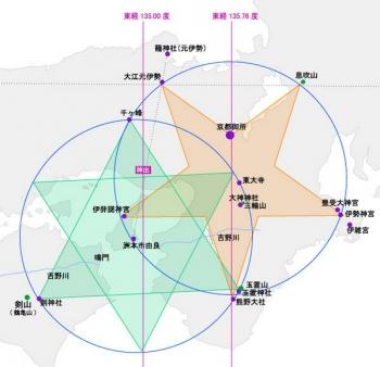 関西に描かれた巨大な「六芒星」と「逆五芒星」の意味。または「かごめかごめ」の意味。
