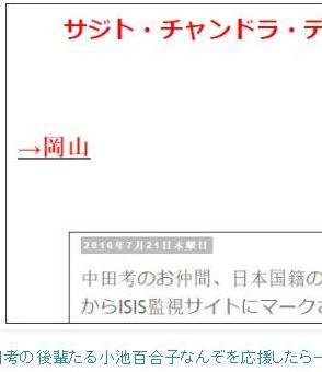 tok中田考の後輩たる小池百合子なんぞを応援したら一族郎党罰せられて当然かもしれんね(爆wwwww