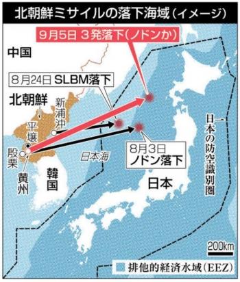 news着弾は奥尻沖200キロ 北朝鮮 ミサイル3発
