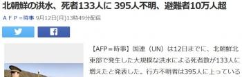 news北朝鮮の洪水、死者133人に 395人不明、避難者10万人超