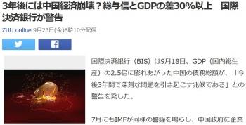 news3年後には中国経済崩壊?総与信とGDPの差30以上 国際決済銀行が警告
