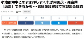 news小池都知事このまま押しまくれば内田茂・森喜朗「退治」できるかも・・・五輪施設建設で官製談合疑惑