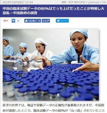 news中国の臨床試験データの80%はでっち上げだったことが判明し大混乱…中国政府の調査