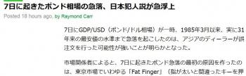news7日に起きたポンド相場の急落、日本犯人説が急浮上