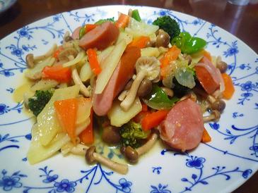 ソーセージと野菜