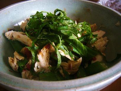 オクラと鶏胸肉の梅肉和え (3)