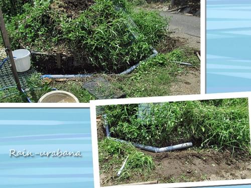 排水パイプを埋めるらしい (^ ^)