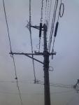電柱の上の風車
