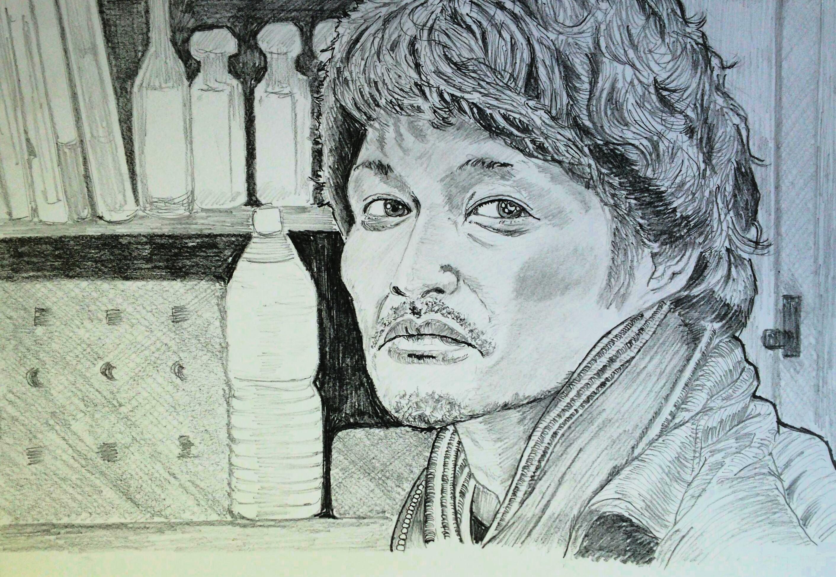 安田顕の鉛筆画