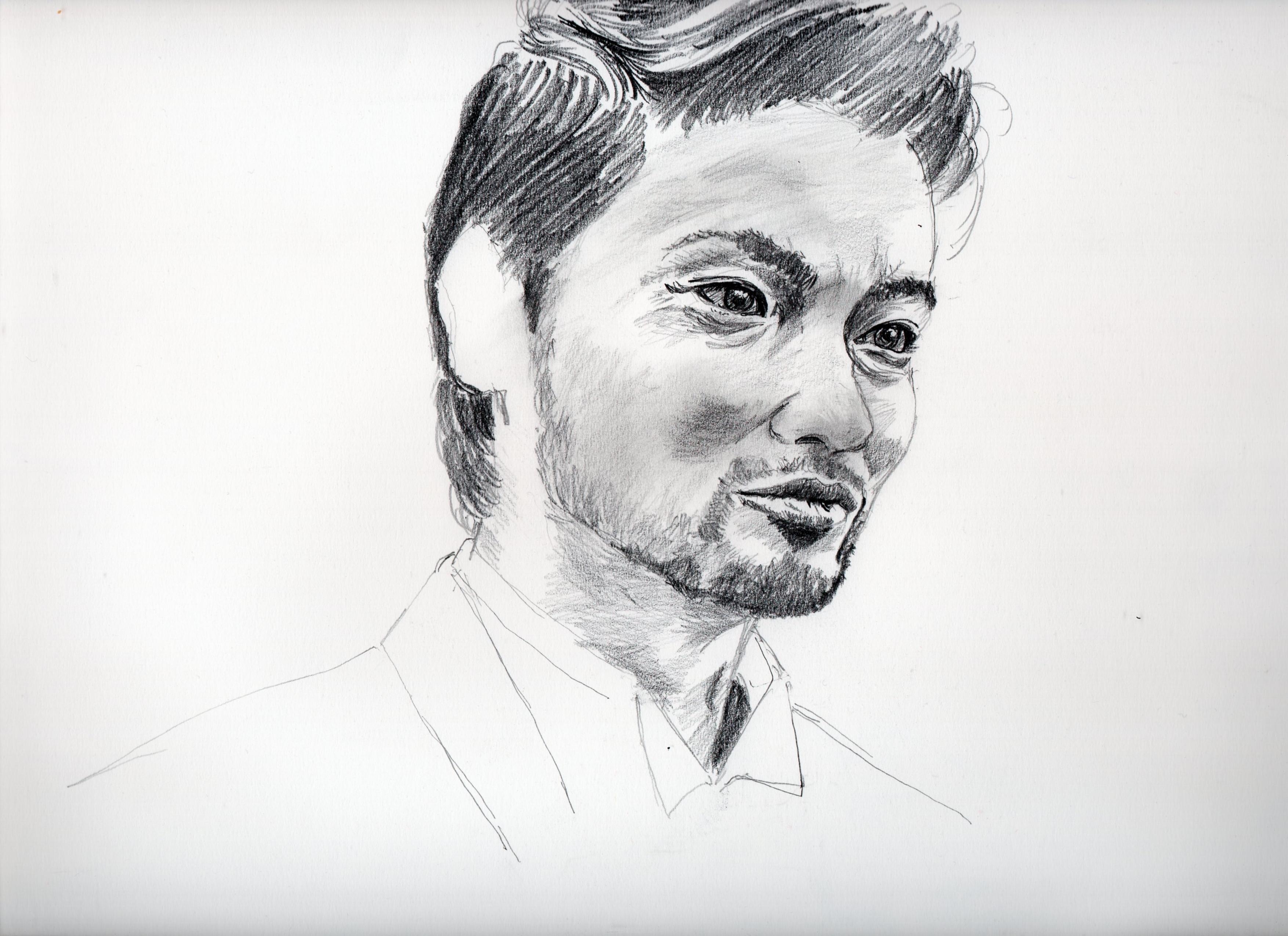 吉田羊の鉛筆画似顔絵