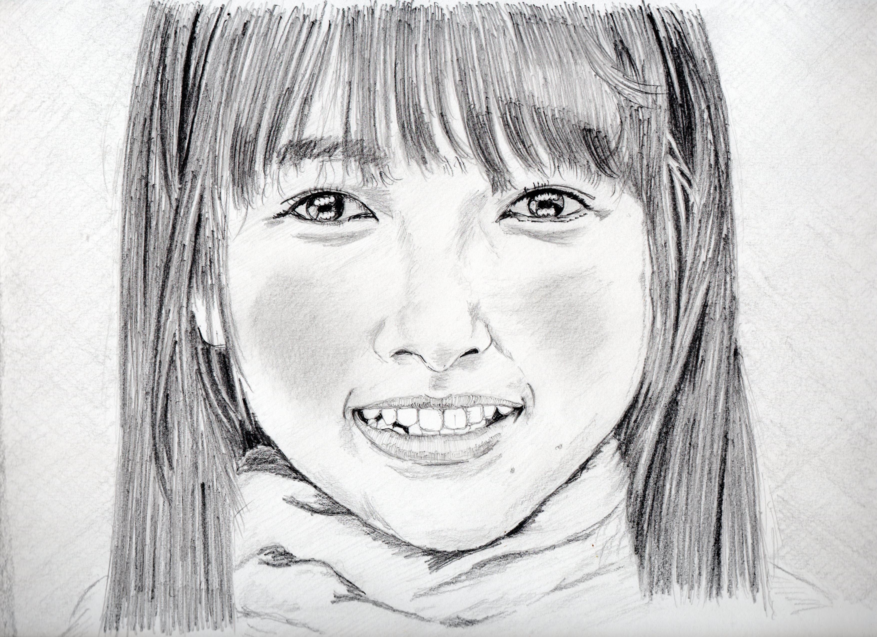 桜井日奈子の鉛筆画似顔絵