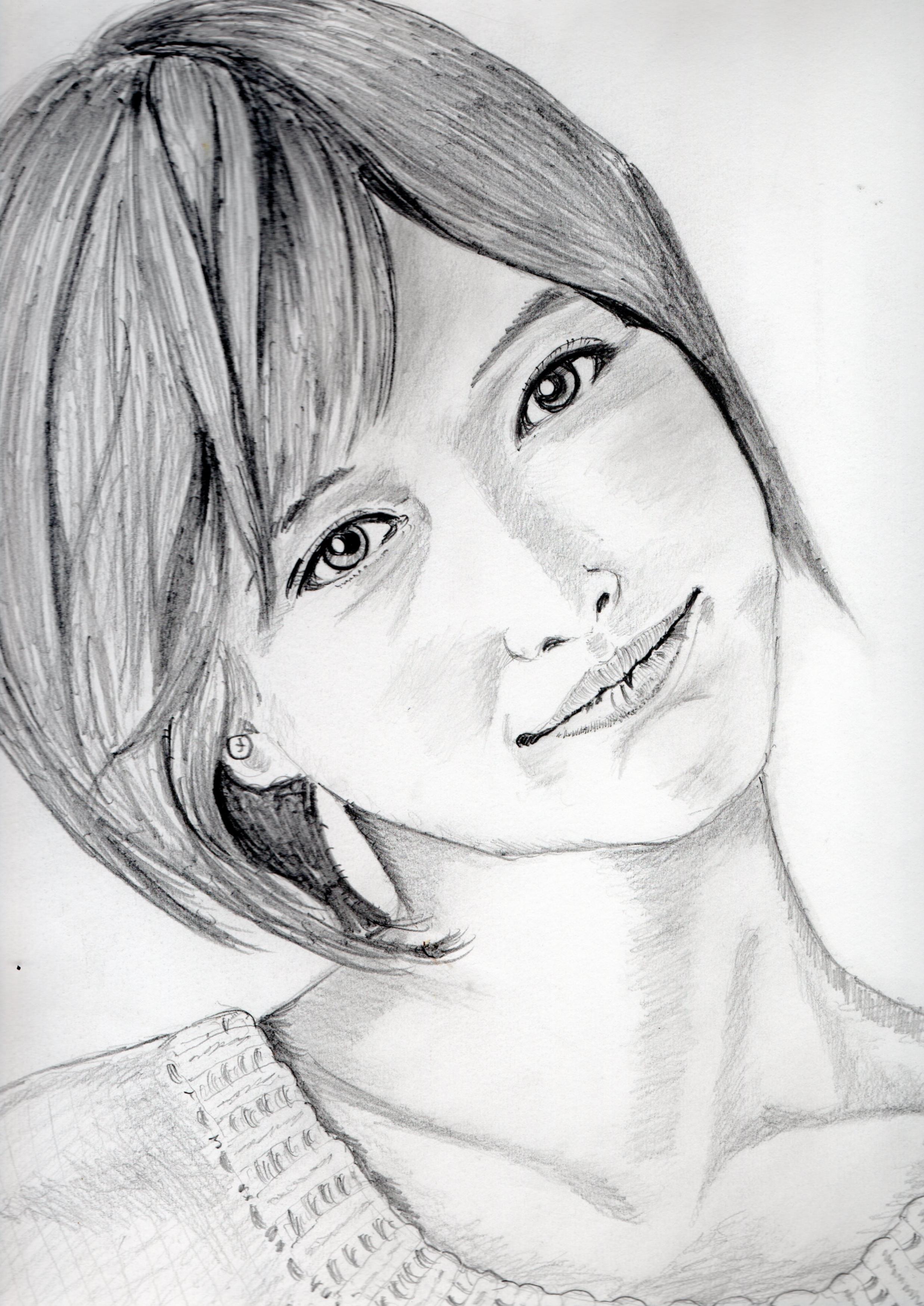 本田翼の鉛筆画似顔絵