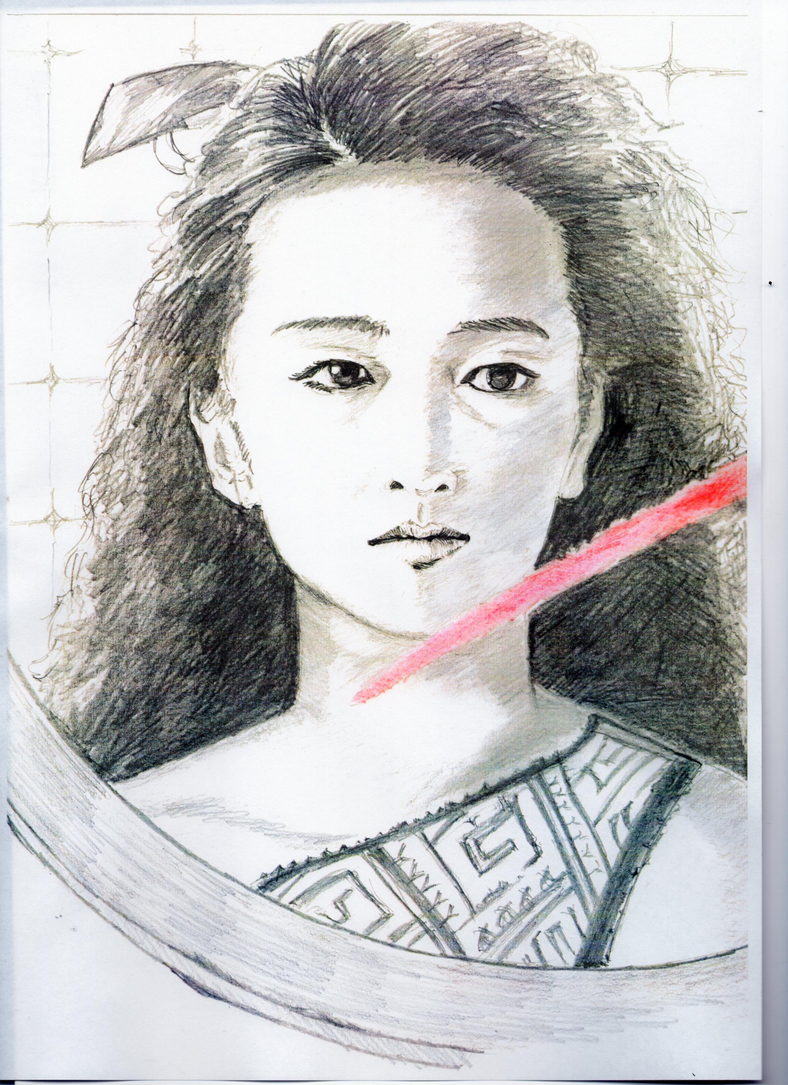 小林麻美の鉛筆画