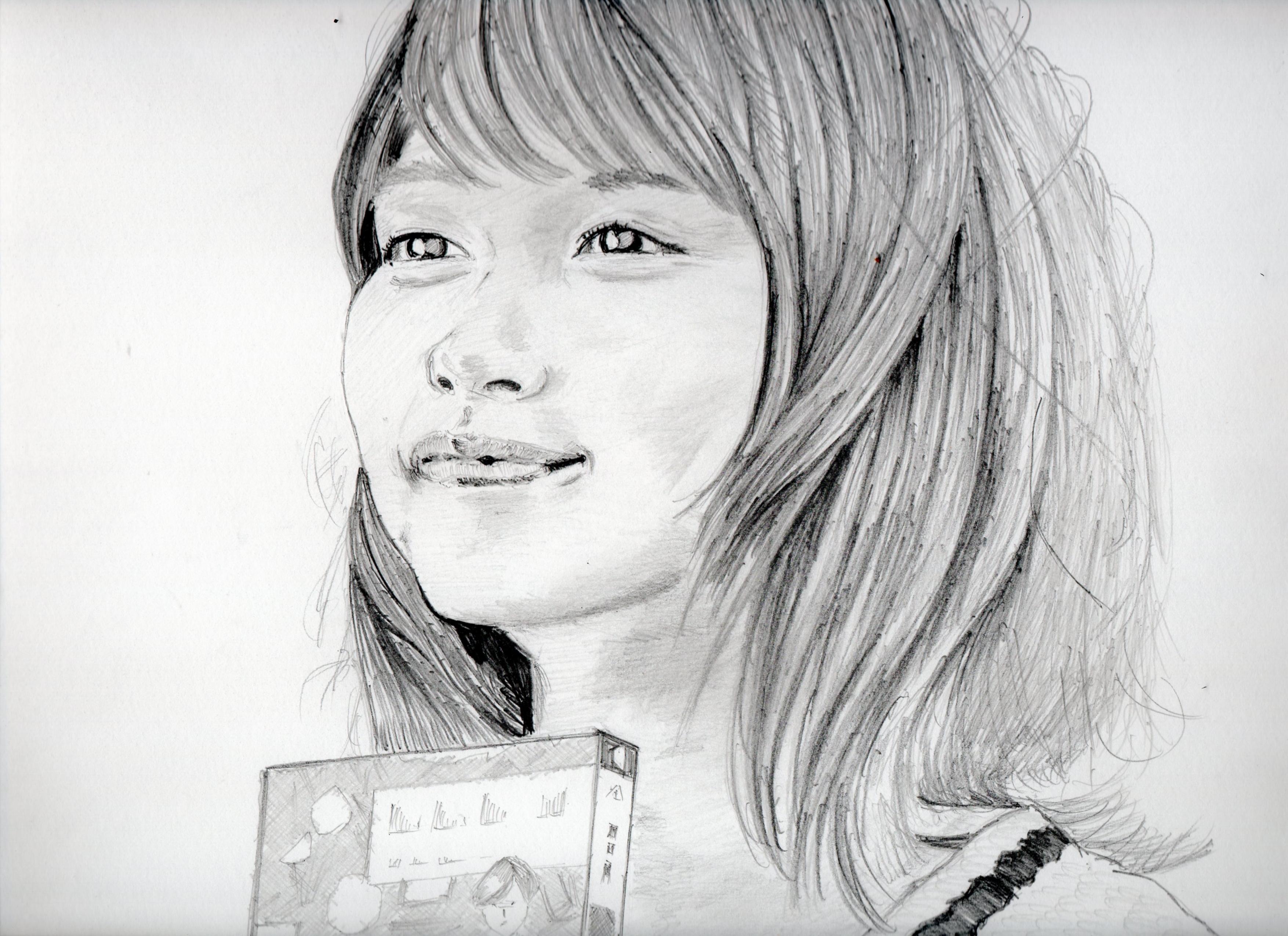 有村架純の鉛筆画似顔絵