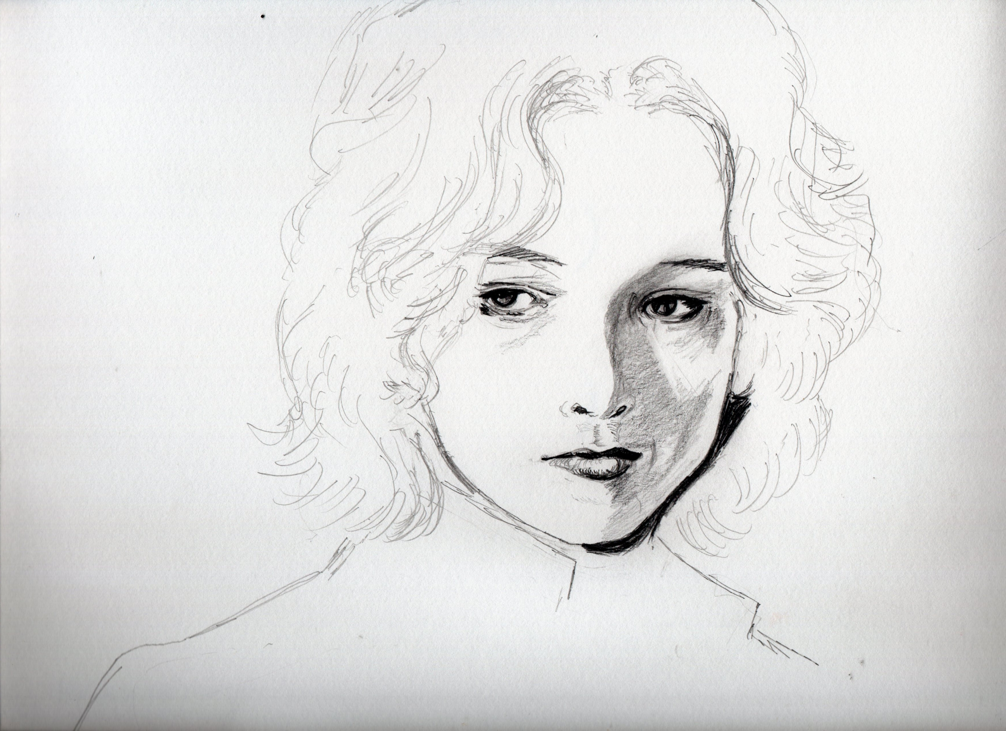 ビョルン・アンドレセン鉛筆画途中