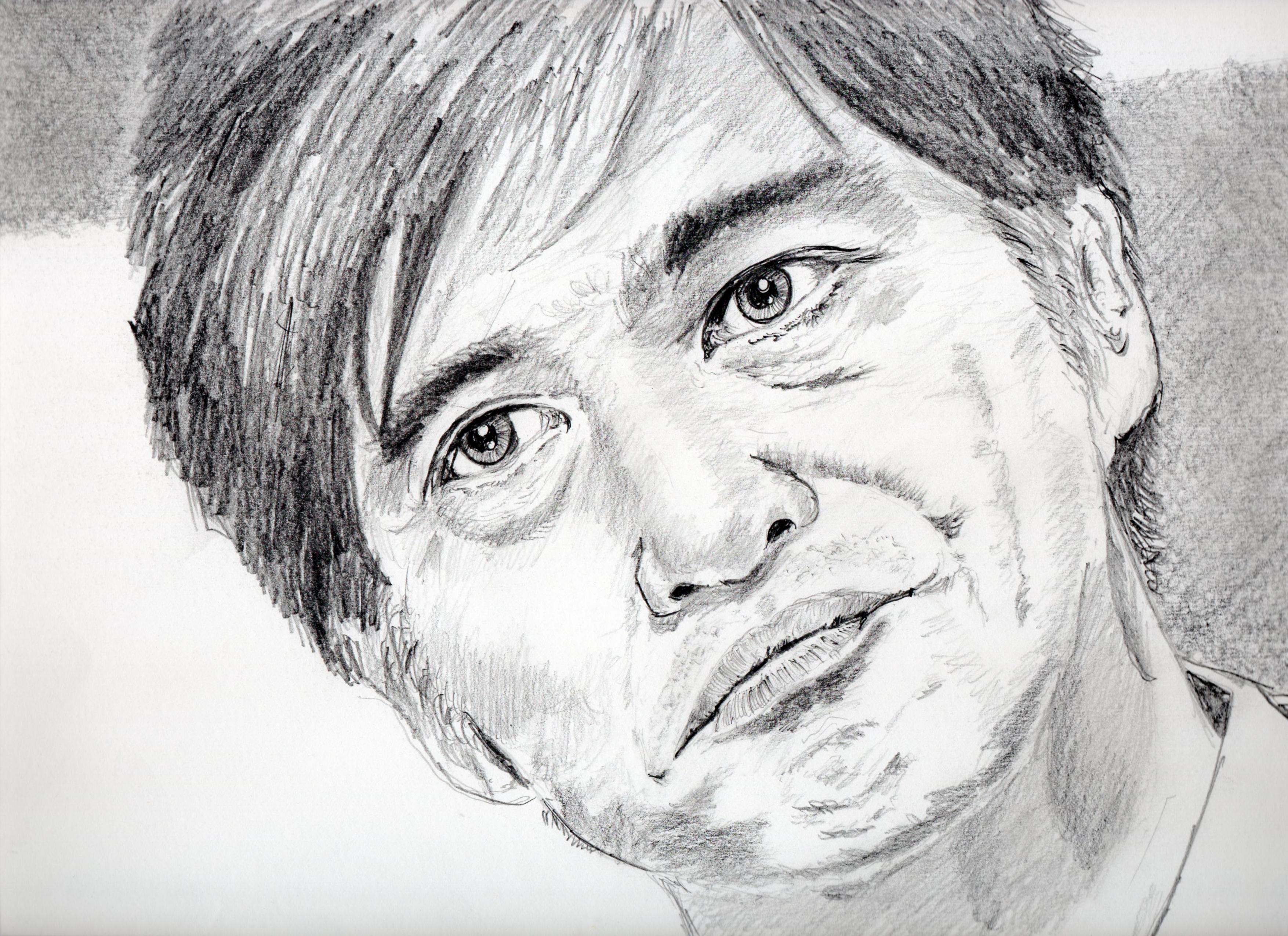 佐藤浩市の鉛筆画似顔絵