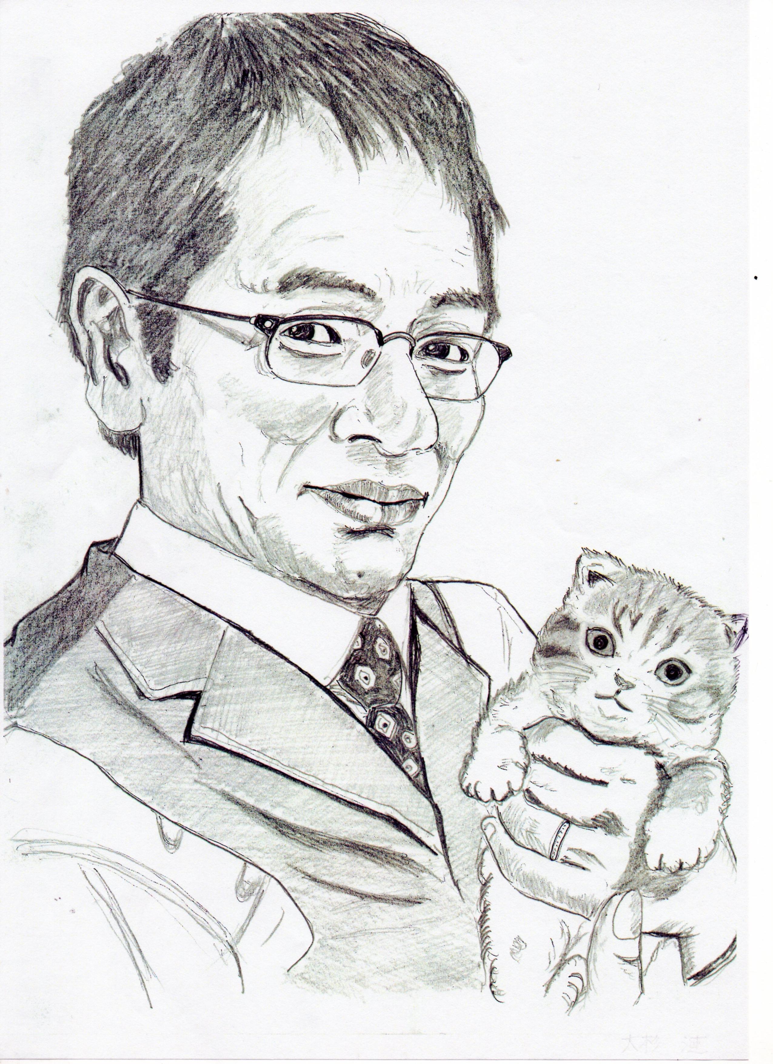 大杉漣の鉛筆画似顔絵