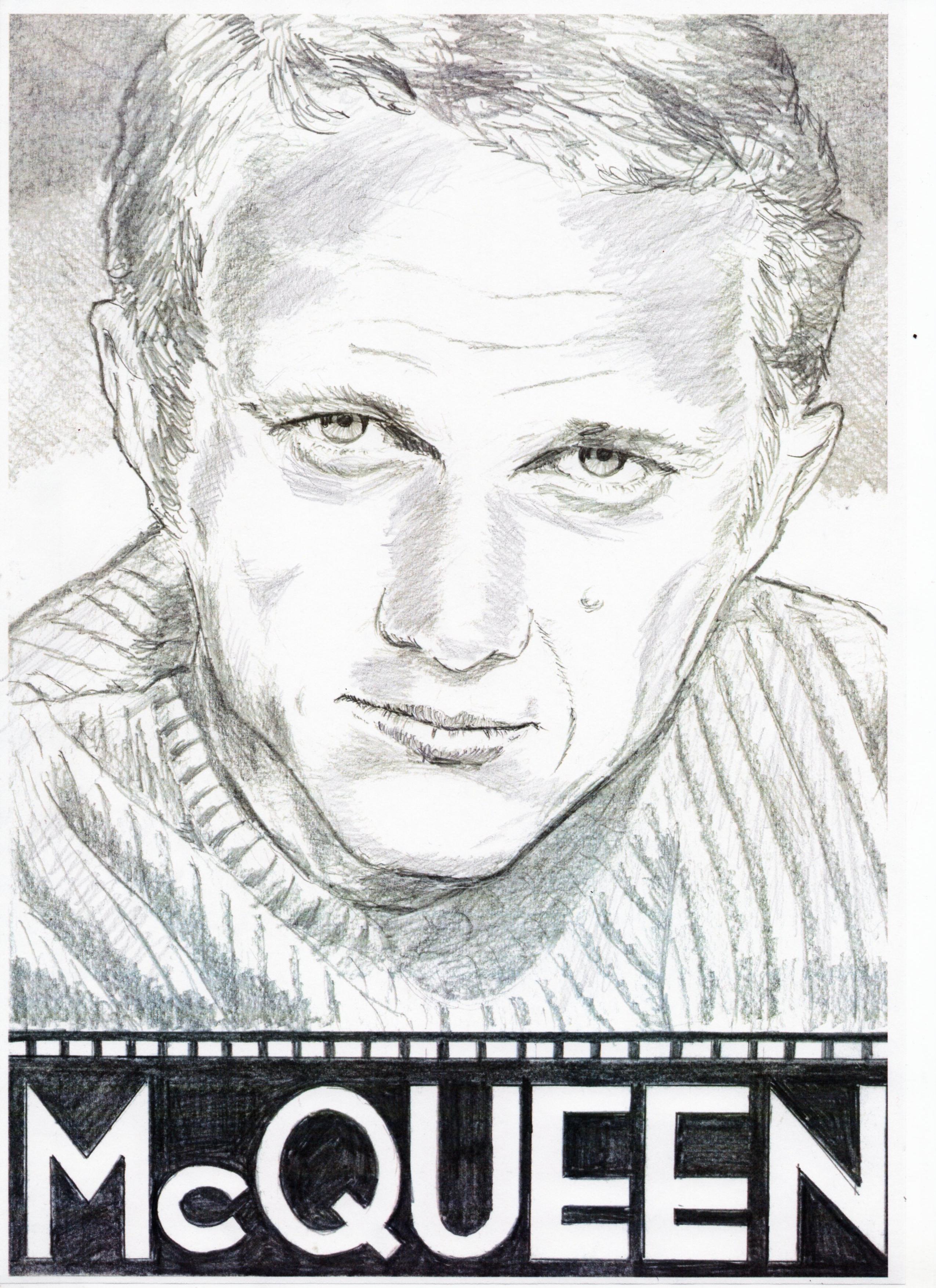 スティーブ・マックイーンの鉛筆画~似顔絵