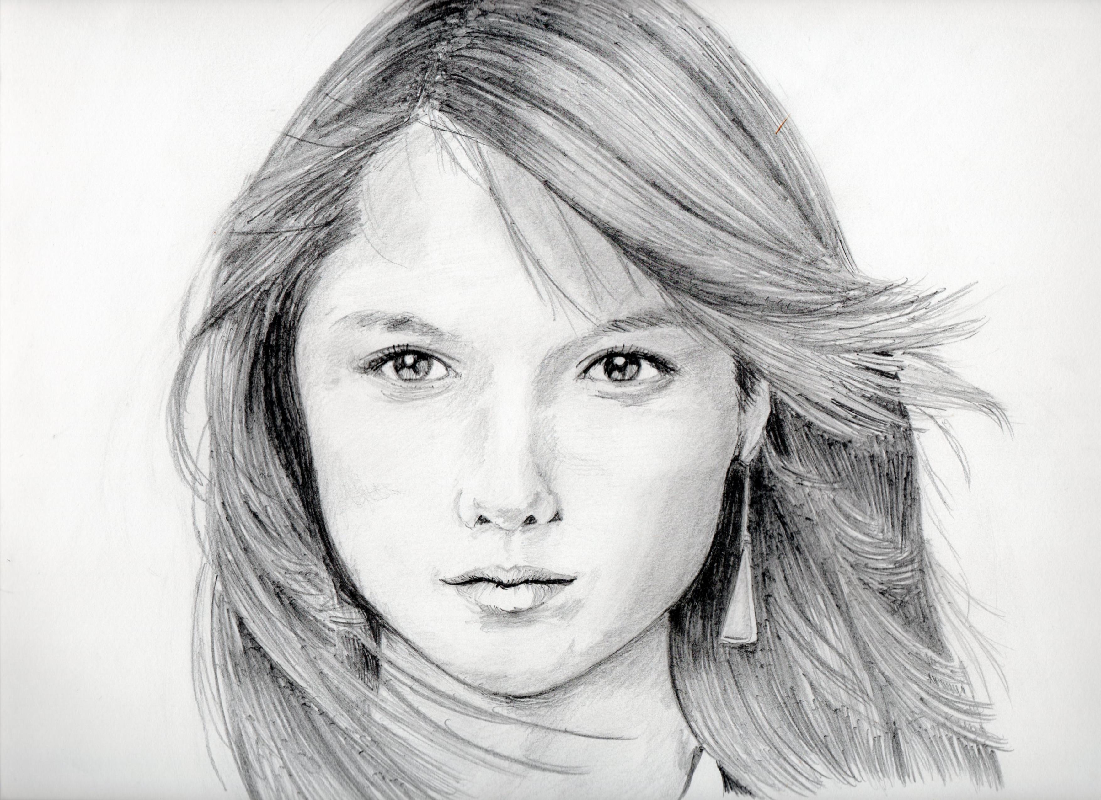 宮崎あおいの鉛筆画似顔絵、宮崎あおいのリアル似顔絵