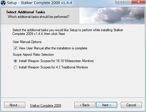 S.T.A.L.K.E.R. Shadow of Chernobyl 用 大型 Mod、stalker_complete_2009_v1.4.4_setup.exe でインストールする場合、スコープのアスペクト比選択画面では 16:10 と 4:3 しか選択できない、アスペクト比 16:9 用の選択肢およびテクスチャファイルは同梱されていない